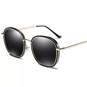 Sunglasses for Women - Retro Fashion Polarized Mirror Sun Glasses,100% UV Protection Eyewear (Black) (Black)