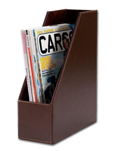 Dacasso Dark Brown Bonded Leather Magazine Rack (Leather Magazine Holder)