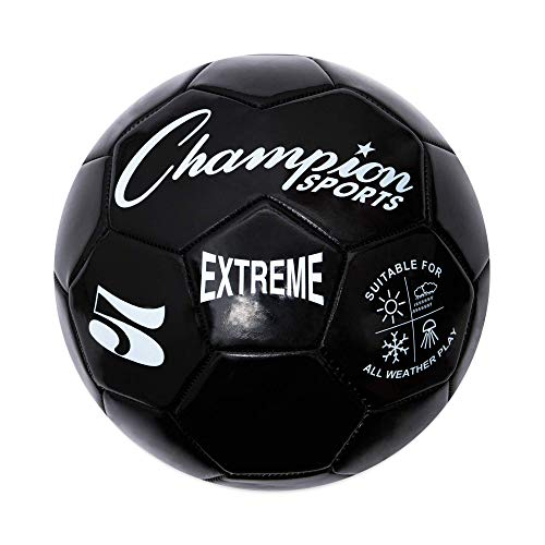 Extreme Series Soccer Ball, Regulation Size 5 - Collegiate, Professional, and League Standard Kick Balls - All Weather, Soft Touch, Maximum Air Retention - For Adults, Teenagers, Black