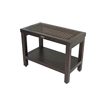 Image of Bath & Shower Aids Classic ™ 24' Teak Spa Bench with Indoor/Outdoor Rattan and Shelf - Adjustable Height Feet- Bath, Shower, Sauna, Locker Room