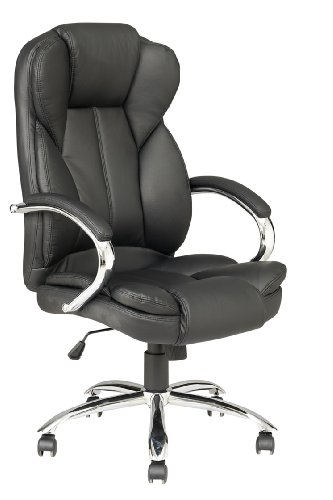 Black High Back PU Leather Executive Office Desk Task Computer Chair w/Metal Base O18 by BestOffice