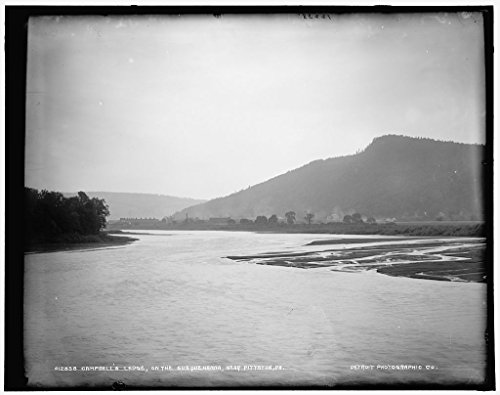 24 x 20 Art Canvas Print of c. 1890 Campbell's Ledge on the Susquehanna near Pittston Pa by Detroit Publishing Co (Susquehanna Pa)