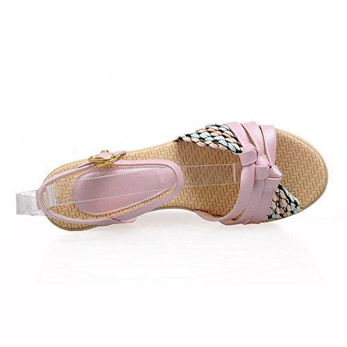 Sandali Con Fibbia Open Toe Color Amoonfashion In Pelle Assortiti Rosa