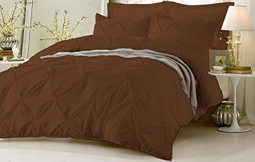 Chocolate King Duvet Cover - Pinch Pleated Duvet Cover Set 5 Piece With Zipper & Corner Ties 100% Egyptian Cotton 600 Thread Count Hypoallergenic (1 Duvet Cover 4 Pillow Shams) ( Cal King/King, Chocolate ) by Kotton Culture
