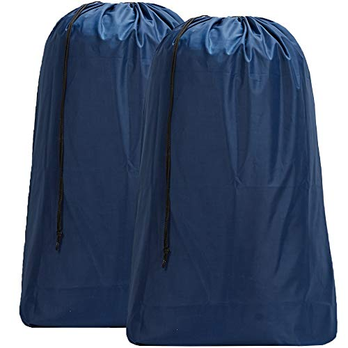 HOMEST 2 Pack Nylon Laundry Bag, 28 x 40 Inches Travel Drawstring Bag, Rip-Stop Large Hamper Liner, Machine Washable, Blue