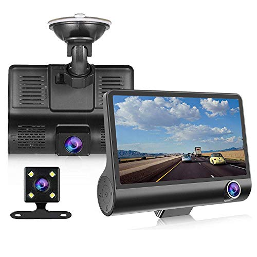 YOCrazy-US Direct Dash Cam 4'' HD 1080P 3 Lens Car DVR Dashboard Cam Vehicle Video Recorder Rearview Camera with G-Sensor Loop Recording, Night Mode 170°