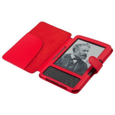 CE Compass Faux Leather Cover for Kindle 3 (Red) by Generic