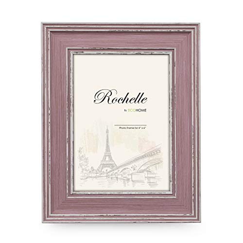 (4x6 Picture Frame Distressed - Rose Pink and Purple Mount or Desktop Display, Frames by EcoHome)