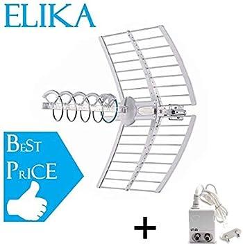 Fracarro Elika Pro - Antena helicoidal activa con puntero automático LED banda UHF filtro LTE 213227 + fuente de alimentación mini Power 12P 270021