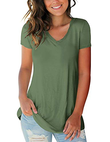 PARPERNA T-Shirt Women Summer Blouse Shortsleeve V-Neck Tops Casual Slim Fit Tee Army Green ()