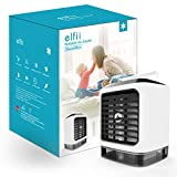 Elfii Portable Air Cooler,humidifier,Moist,Low Noise,Purifies air, LED Light, Personal Small Desk Fan/Mini air Conditioner/AC