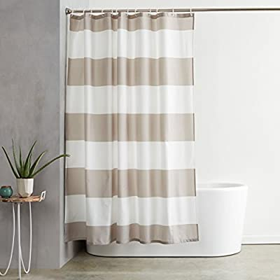 AmazonBasics Mold and Mildew Resistant Shower Curtain with Hooks, 72-Inch, Gray Stripe - Water-repellent printed fabric shower curtain with a gray stripe pattern Made with a mold- and mildew-resistant polyester fabric for long-lasting use and good looks Weighted hem helps keep it in place; rust-resistant metal grommets along reinforced top header - shower-curtains, bathroom-linens, bathroom - 41zKhQs88YL. SS400  -