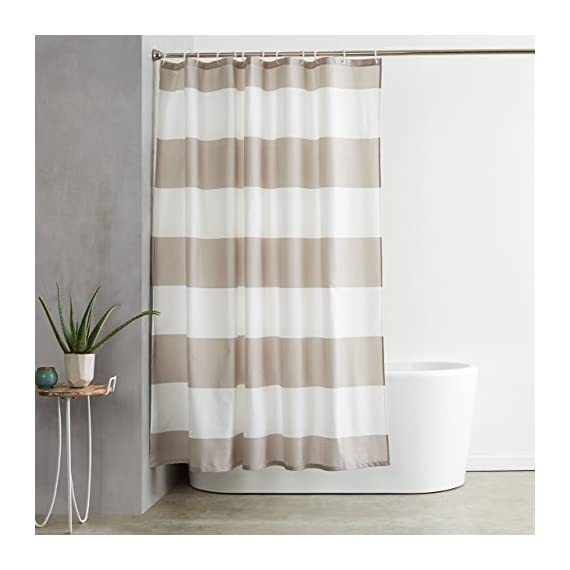 AmazonBasics Mold and Mildew Resistant Shower Curtain with Hooks, 72-Inch, Gray Stripe - Water-repellent printed fabric shower curtain with a gray stripe pattern Made with a mold- and mildew-resistant polyester fabric for long-lasting use and good looks Weighted hem helps keep it in place; rust-resistant metal grommets along reinforced top header - shower-curtains, bathroom-linens, bathroom - 41zKhQs88YL. SS570  -
