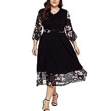 Sumen Women Midi Dresses V Neck Wrap Floral 3/4 Sleeve Plus Size Prom Dress