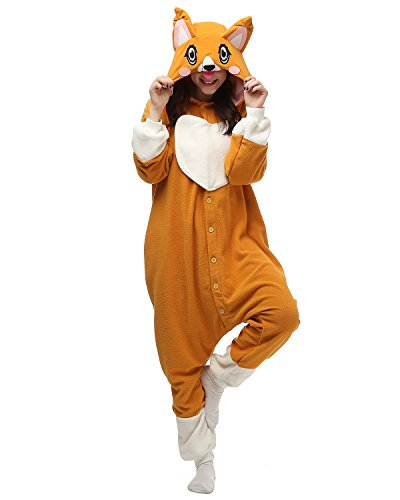 [Adult Corgi Dog Onesie Halloween Kigurumi Costume Pajamas Partywear Outfit for Women Men M] (Animal Costumes Coupon Code)