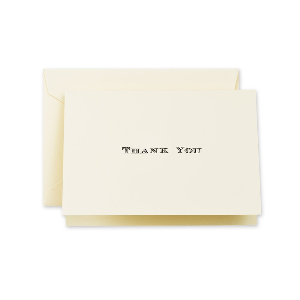Crane & Co. Black Hand Engraved Thank You Note (CT1419)