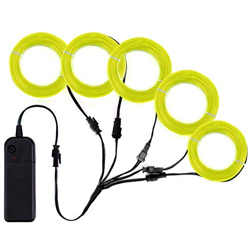 Zitrades EL Wire Lemon Greene Neon Lights Kit with 4 Modes Portable Battery Operated for DIY Party Decoration, 5 by 1-Meter