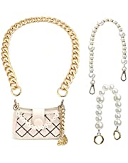 3 Pieces Purse Replacement Chain with Clasp, Heavy Chunky Aluminum Metal Chain, Pearl Bag Chain Pearl Rhinestone Bag Chain for Shoulder Crossbody Handbags