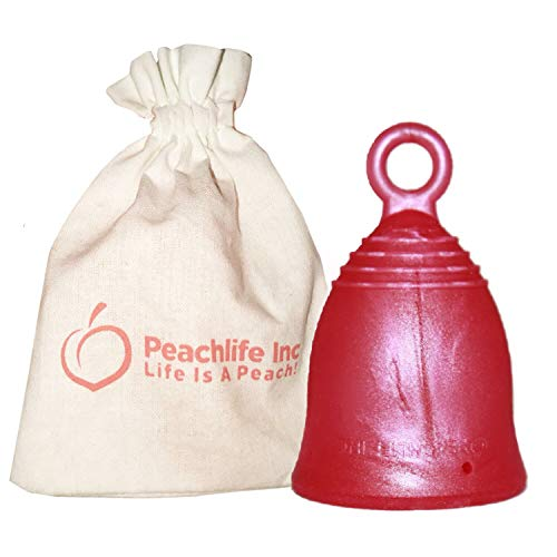 Large - Extra Firm - Menstrual Cup with Ring for Easy Removal - Pearl Sheen - Big 32ml - 12 Hour No Spill Pad & Tampon Alternative - FDA Approved Medical Grade Silicone - REDROSECUP by Peachlife Inc