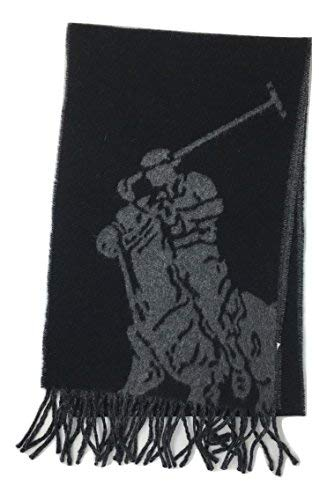 Polo Ralph Lauren Men Wool Blend Big Pony Reversible Scarf - Made in Italy (One size, Black/Coal) ()