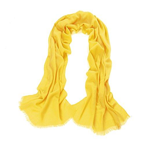 Aqueena Women's 100% Merino Wool (70s) Solid Color Long Pashmina Shawl Scarf