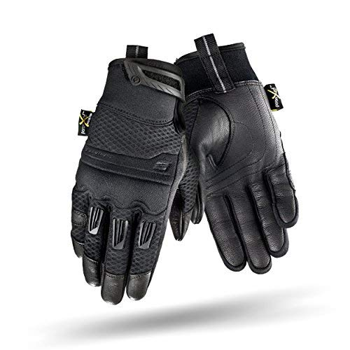 SHIMA Air Men Summer Textile Leather Black Motorcycle Gloves, L