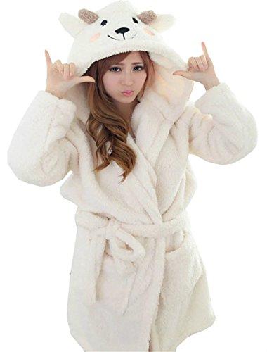 Robe Flannel White (Betusline Womens/Mens Cartoon Animal Soft Flannel Warm Hooded Pajamas Bath Robe)