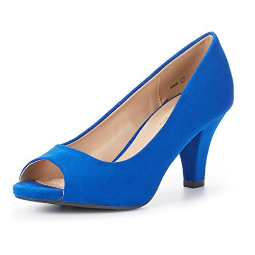 DREAM PAIRS Women's Susan RoyalBlue Fashion Stilettos Peep Toe Pumps Heels Shoes Size 10 B(M) US