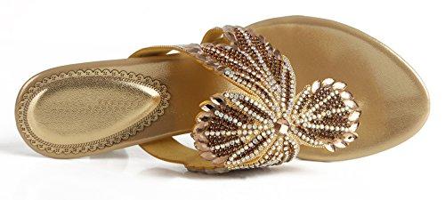 Blumen Quadrat Strass Pantoffel Gold Absatz Schuhe mit Frauen Sandalen Neuheiten Honeystore 2017 Lackleder vnCppU