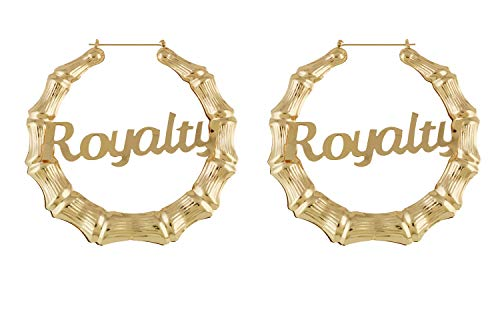 HONB Gold Tone Hollow Casting Round Bamboo Hoop Earrings (14K Gold Royalty)