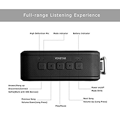 {Waterproof Sports Speaker}, Wireless Mini Smart Portable Handheld Speakers Bluetooth 4.0 with 12 Hour Playtime, Shockproof IPX54, Remote Shutter Control with 7W Powerful Drive and Bass Enhance Technology for Outdoors Sports Travel Bicycle Cycling Climbin