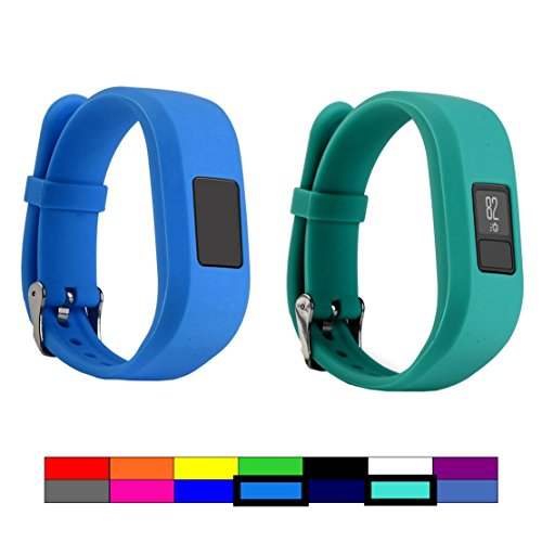 For Garmin Vivofit 3 and Vivofit JR, Dunfire Colorful Accessory Band/ Wristbands With Secure Watch-style Clasp For Garmin Vivofit 3 and Vivofit JR (2PCS - BLUE & - Tracking Options With Usps Shipping