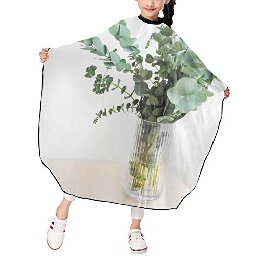 Greatmindo Professional Hair Salon Cape with Snap Closure Kids Green Leaf Plants Interior Flower Water Vase 3947 in Haircut Cape Apron for Styling Hair Cut Hairdresser Barbershop Supplies