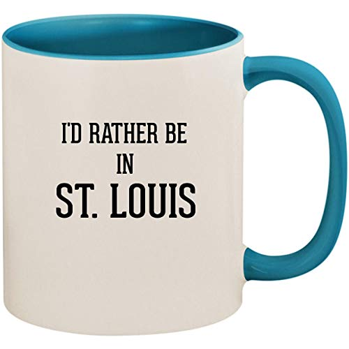 - I'd Rather Be In ST. LOUIS - 11oz Ceramic Colored Inside and Handle Coffee Mug Cup, Light Blue