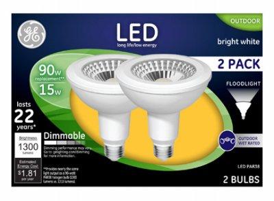 GE Lighting 96991 LED Flood Light Bulbs, Bright White, Clear, 1300 Lumens, 15-Watts, 2-Pk. - Quantity -