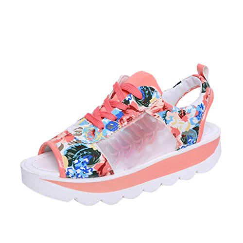 hunpta Woman Straps High Pattern Fish Mouth Printing Platform Shoes Gladiator Sandals Prink eIjVW4m