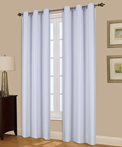 GorgeousHomeLinen (A72) 1 Panel Window Curtain Bronze Grommet Top Lined Foam Backing Insulated Thermal Drape Blackout, WHITE (35
