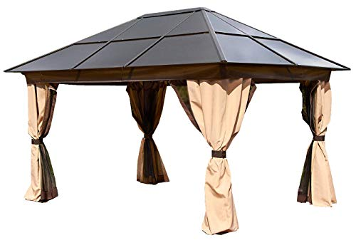 Polycarbonate Aluminium All Weather Permanent Gazebo 3x4M Bronze & Beige