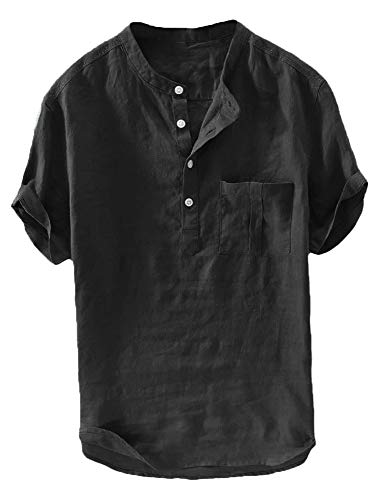 Mens Linen Henley Shirt Casual Short Sleeve T Shirt Pullovers Tees Retro Frog Button Cotton Shirts Beach Tops (X-Large, A-Black)