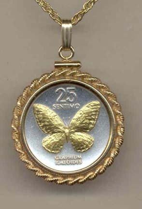 Philippines 25 Sentimos ÒButterflyÒ Two Tone Gold Filled Rope Bezel Coin on 18