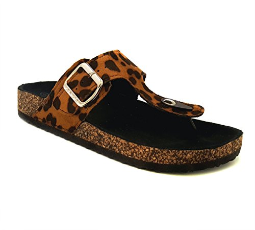 ANNA GLORY-200 WOMEN TRENDY CORK PLATFORM FLAT SANDALS WITHOUT BOX NEW!! (7.5 B(M) US, LEOPARD)
