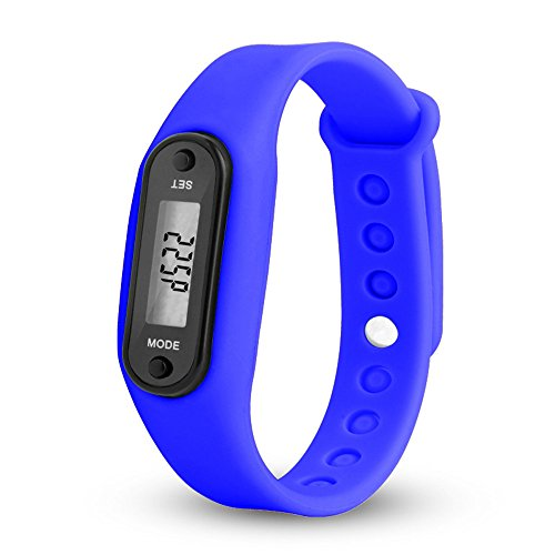 Digital LCD Watches,Hosamtel Pedometer Run Step Counter Walking Distance Calorie Calculation Sports Bracelet Wrist Watch with Silicone Band (Navy Blue)