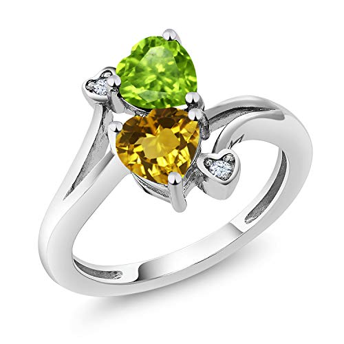 Gem Stone King 1.56 Ct Heart Shape Green Peridot Yellow Citrine 925 Sterling Silver Ring (Size 7) (Heart Peridot Ring)
