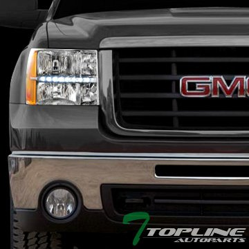 topline-autopart-chrome-clear-led-head-lights-corner-signal-lamps-amber-dy-2007-2014-gmc-sierra