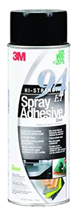 3M Hi-Strength 94 ET Spray Adhesive Clear Low VOC, 24 fl oz can, net wt 19.8 oz (Pack of 1)