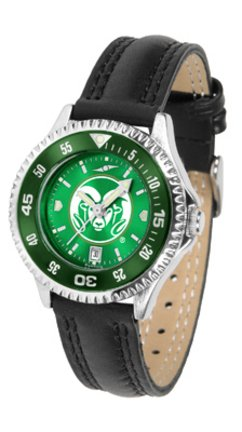 Colorado State Rams Competitor Ladies AnoChrome Watch with Leather Band and Colored Bezel by SunTime