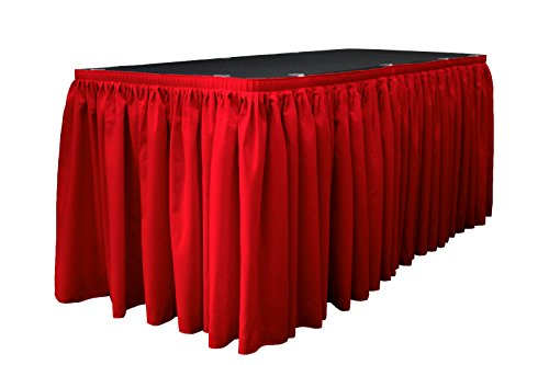LA Linen Polyester Poplin Pleated Table Skirt with 15 Large Clips, 21-Feet by 29-Inch, Red