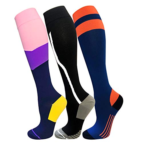 Compression Socks For Men & Women(3 Pairs)- Best For Running,Athletic,Medical,Pregnancy and Travel -15-20mmHg (L/XL, Multicoloured 13) (Best Compression Socks For Standing All Day)