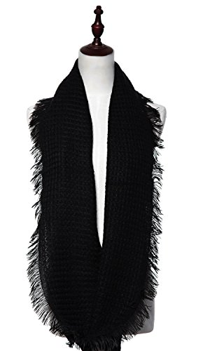 Review Lucky Leaf Women Thick Knit Winter Infinity Circle Loop Scarves Solid Color (Black)