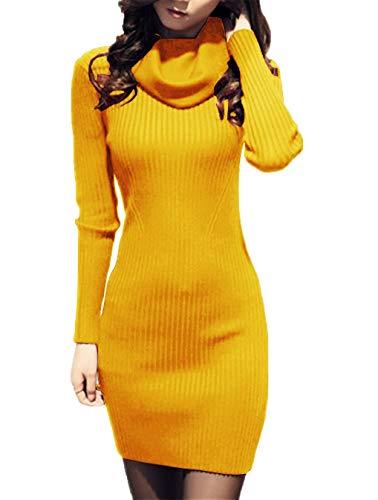 v28 Women Cowl Neck Knit Stretchable Elasticity Long Sleeve Slim Fit Sweater Dress (2-8,Mustard)